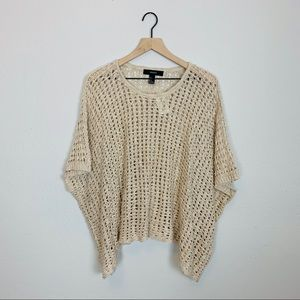 NWT F21 Oversized Open Knit Sweater Poncho Coverup